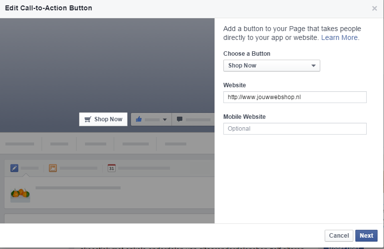 Facebook Call to Action-knop maken