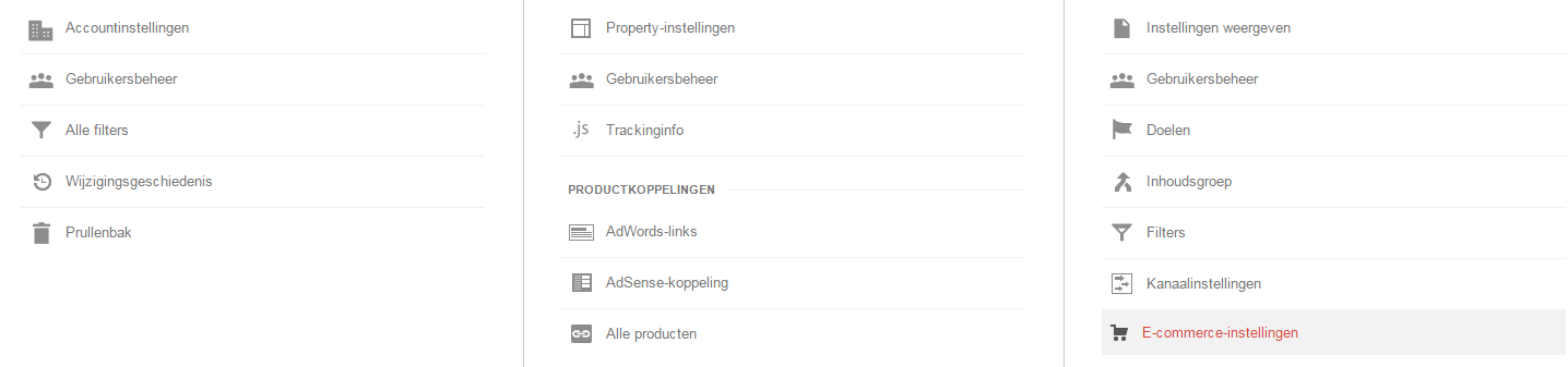 Google Analytics E-commerce-instellingen