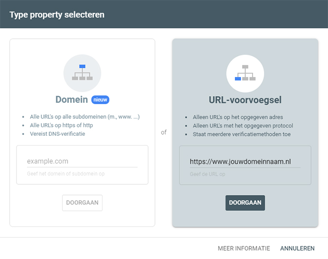 Type property selecteren Google Search Console