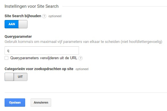 Google Analytics Site Search inschakelen